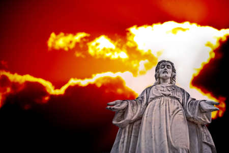 sky  dramatic: Statue of Jesus with Dramatic Sky