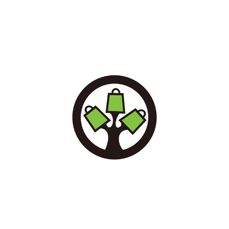 tree shop logo, online shop logo,concept flat vector logo template Stock Illustratie