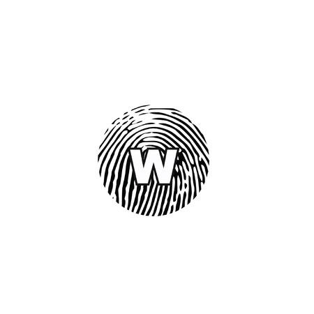 w letter logo, finger scan logo,concept flat vector logo template Ilustrace