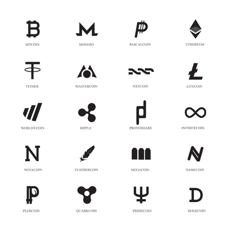 tether: Cryptocurrency Line Icons Set. Popular Cryptocurrency Illustration