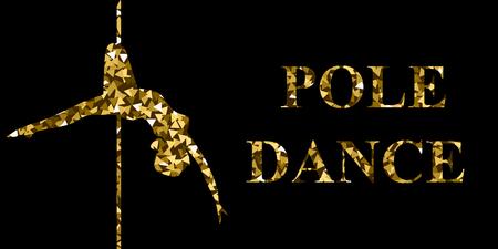 Illlustration. Poledance. Gold silhouette. Illustration