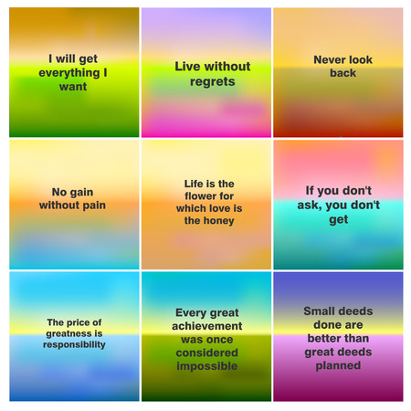 Set of 9 blurred nature background. With various quotes