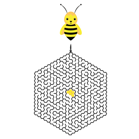 Hexagon education Maze or labyrinth game for chidren with bee and honeycomb. Vector illustration. EPS 10