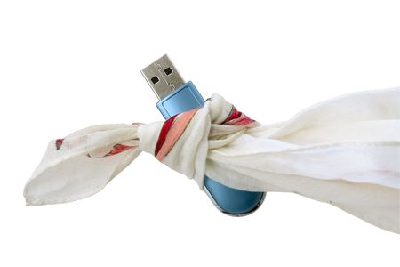 Handkerchief small knot and Flash Drive  on white background                                Stock Photo - 6195397