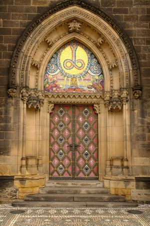 Main door to the neo-gothic Basilica of St Peter and St Paul in Prague, Czech Republic                                 Stock Photo