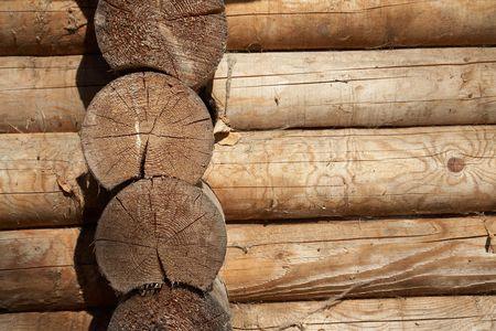 Log corner structure   of rural wood house                                 Stock Photo