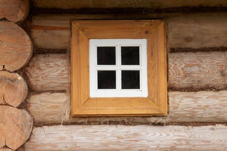 Small window of rural wood house
