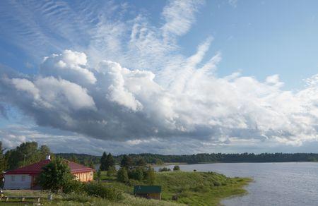 Summer landscape with lake, Vologda  region, Russia photo