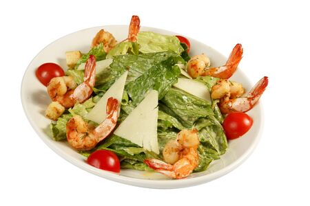Prawn salad with mixed greens, tomatoes,  lettuce, cheese, dried crust