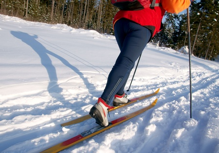 Female skier is casted a long shadow on snow on a sunny day  Stock Photo