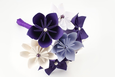 Origami wedding paper bouquet – purple and white flowers   with beads