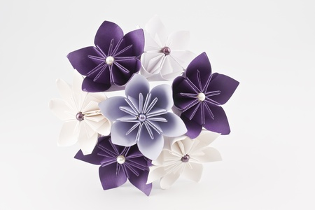 Origami wedding paper bouquet – purple and white flowers