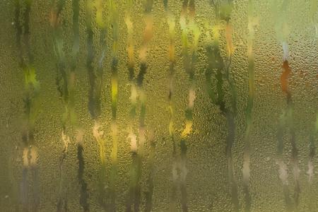 Running water drops on window   Stock Photo