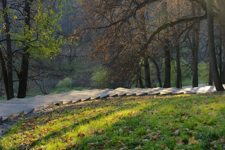 Stairs in Tsaritsyno park in sunny fall� day, Moscow, Russia