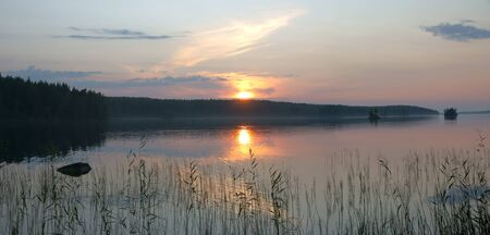 Lake Onega Sunset Scene in Karelia, Russia photo