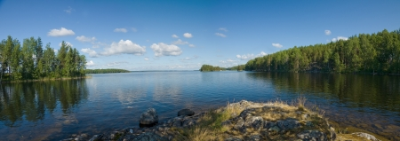 Lake Onega panorama in Karelia, Russia    photo