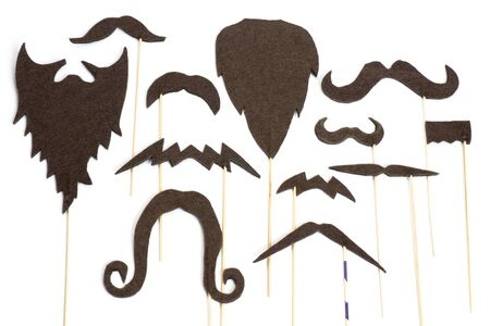 Set of mustache and beard silhouettes for party   photo