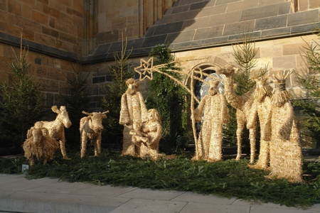 Nativity scene with straw figures Stock Photo
