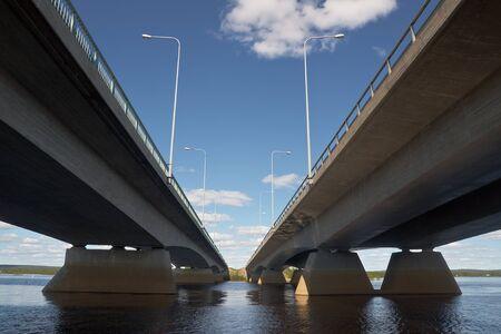 rovaniemi: Road bridge over river in Rovaniemi, Finland Stock Photo
