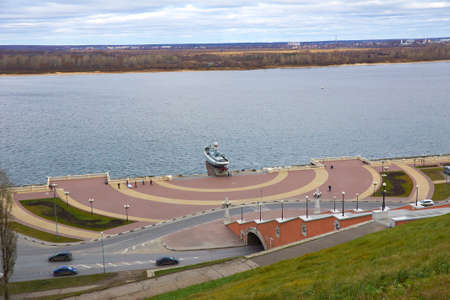 steps and staircases: View of Chkalov staircase, boat Volga Flotilla Hero. and the Volga River, Nizhny Novgorod, Russia