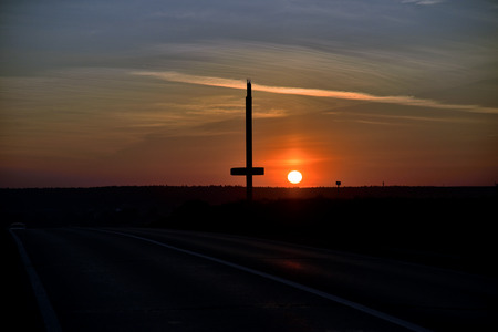Sunset over the road and stella Stock Photo