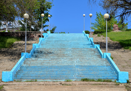 Stairs With Street Lamp To River Beach In City Of Pavlovsk, Voronezh..  Stock Photo, Picture And Royalty Free Image. Image 65666279.
