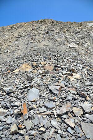 fragmentation: Broken stone fragmentation on sky background