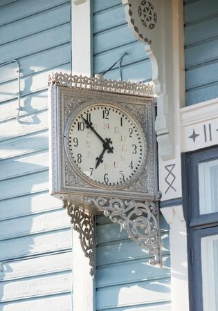 Clock of Keuruu old railway station, Finland. Stock Photo