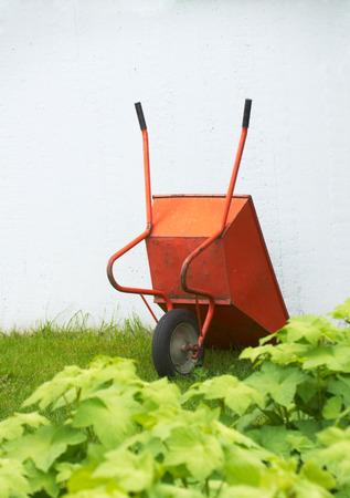 Orange wheelbarrow on grass near wall
