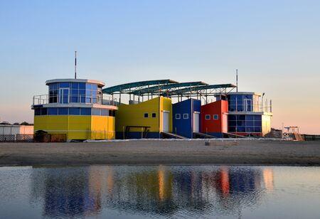 Exterior of colorful houses on coast of the Black Sea at sunset, Anapa, Krasnodar Region. Russia Stock Photo