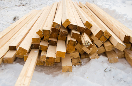 Wooden beam for construction on snow