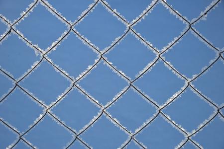 Metallgitter mit Raureif auf Hintergrund des blauen Himmels Standard-Bild - 95833455