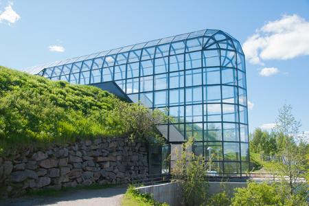 Transparent corridor of Arktikum is a museum and science center in Rovaniemi, Lapland, Finland