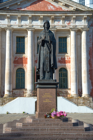 Kashin, Tver Region, Russia, September 20, 2018: Monument to Anna Kashinskaya in front of Ascension Cathedral