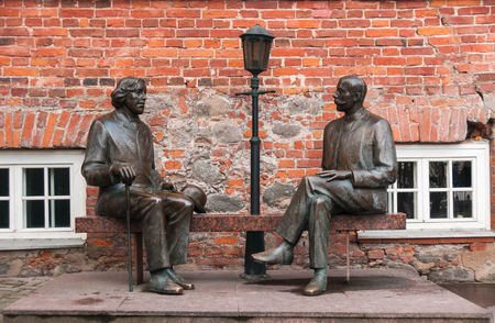 Tartu, Estonia, November 11, 2014: Monument to Oscar Wilde and Eduard Wilde Editorial