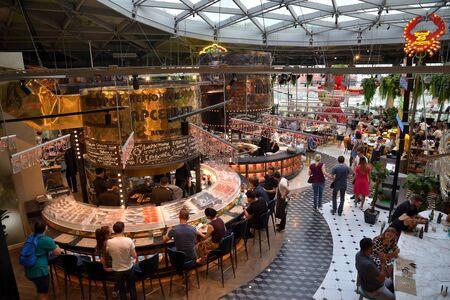 Moscow, Russia, June 29, 2018: Zaryadye Gastronomic Center, moden food market with nine restaurants Editorial