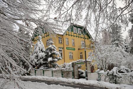Swieradow Zdroj resort, Poland, December 13, 2018: Pensjonat Eldorado - historic Art Nouveau
