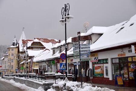 Swieradow Zdroj resort, Poland, December 13, 2018: Jizera Mountains Standard-Bild - 128667690