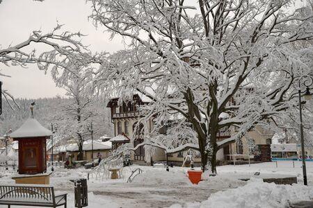 Swieradow resort Zdroj, Poland, December 13, 2018: Jizera Mountains