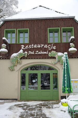 Swieradow Zdroj resort, Poland, December 14, 2018: Street