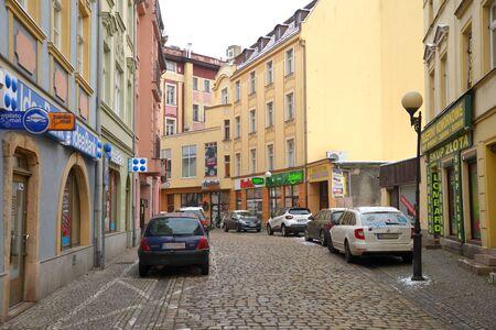 Jelenia Gora, Poland, December 15, 201: 1 Maja street, Lower Silesia, south-western Poland Standard-Bild - 128667697
