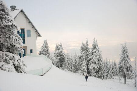 Sweradow resort Zdroj resort, Poland, December 16, 2018: View on the Jastra Mountains Standard-Bild - 128667832