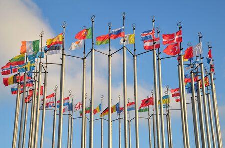 Flaggen europäischer Länder am Platz Europas in Moskau. Russland