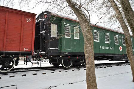Moscow, Russia, January 24, 2020: Military ambulance train in museum under open sky. Victory Park on the Poklonnaya Gora (the Poklonnay Hill)