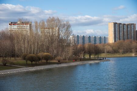 Large (Bolshoi) Ochakovo Pond overlooking Ozernaya Street in early spring, Western Administrative District, Moscow, Russia
