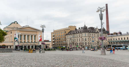 Tampere, Finland, August 11, 2014: Tampere Theater (Finnish: Tampereen Teatteri) was started in 1904. Theater is on Tampere Central Square Editorial