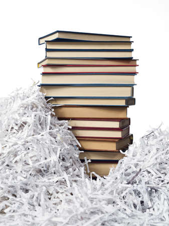 pile of books between the strips of paper Stock Photo