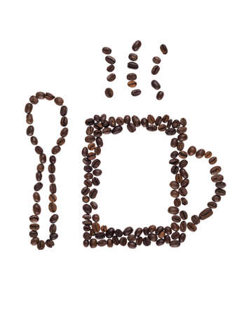 coffeetime: coffe cup made  with a  coffe beans