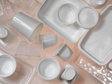 containers of plastic and polystyrene Stock Photo