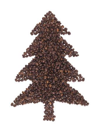 FIR gemacht von Kaffeebohnen auf weißem Hintergrund Standard-Bild